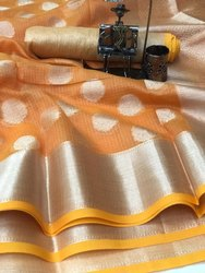 Party Wear Soft Kotta Weaving Handloom Saree, With Blouse Piece