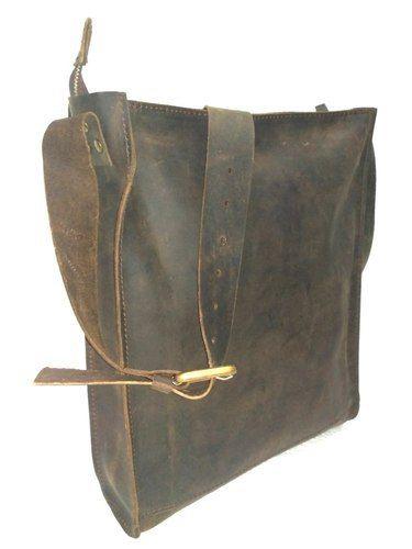 Hv Brown Distressed Leather Simple Messenger Bag
