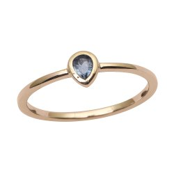 9ct Yellow Gold London Blue Topaz Gem Bezel Set Solitaire Engagement Ring