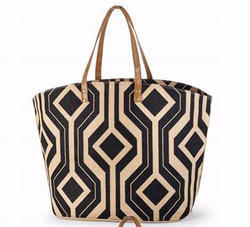 Jute Bag with Abstract Print And Leather Handle