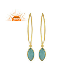 Glossy Candy Gold Plated Silver Aqua Chalcedony Gemstone Earrings