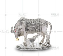 Silver Plated Cow and Calf Statue