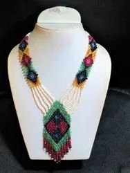 Stunning Emerald Ruby Sapphire Statement Stone Bead Necklace