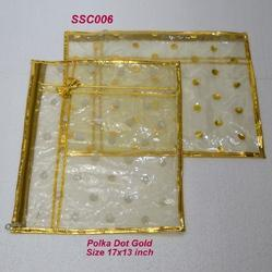 Single Saree Cover Polka Dot Gold