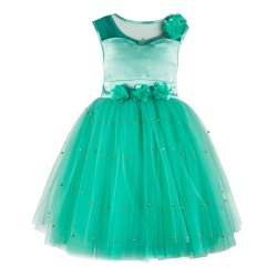Green Tutu Party Wear Dresses For Kids Girls