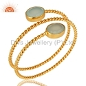Gemstone Twisted Wire Gold Plated Handmade Bangles