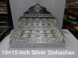 10x15 Inch Wooden Silver God Sinhashan