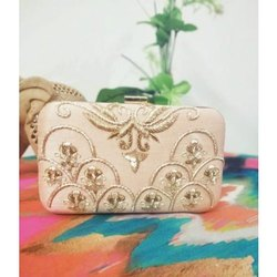Hand Embroidered Box Clutch