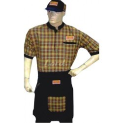 Service Uniform Chef Coat Attach Apron With Cap
