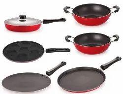 Nirlon Non-Stick Aluminum Cookware Utensils Set with 1 Lid, 6-Pieces, Red & Black