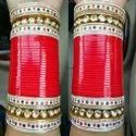 Gold/Red With Stones Bridal Punjabi Chura
