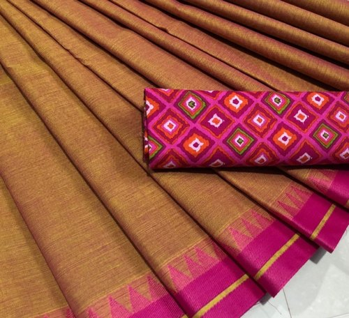 Mellow Desert Sand Chettinad Saree with Contrast Pink Border
