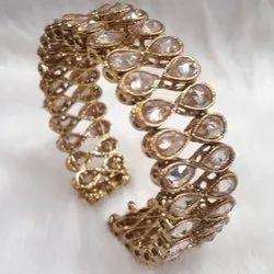 Party Golden American Diamond/Gold /Antique Plated/ Polki /Lct Kada