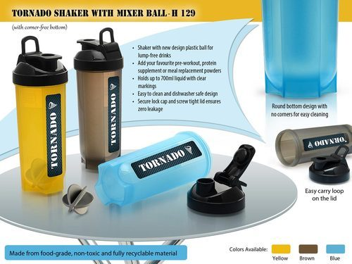 Yellow And Blue Tornado Shaker With Mixer Ball, Capacity: 700 Ml
