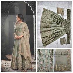 Embroidered Tussar Silk Harvey Tikona Silk Satin Salwar Suit