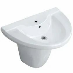 Wash Basin Ceramic - Vitreous China Jaquar Vignette Half Pedestal Wall Hung for Bathroom