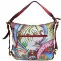 Handled 37 X 33 Cm Winter Abstract Hand Painted Bag