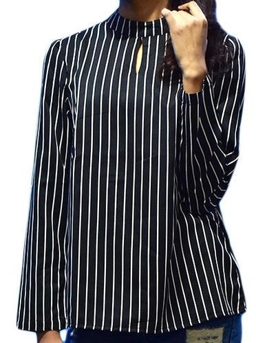 Black & White Crepe High Neck Formal Top