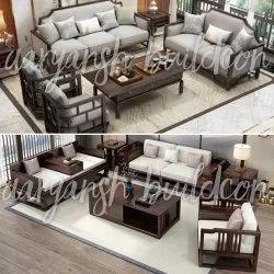 U Shape Brown Wooden Sofa Set, Living Room