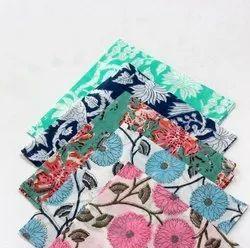 Cotton Multicolor Block Printed Napkins, Size: 16x16 Inches