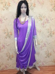 Violet Colour Net Chudidar Suit