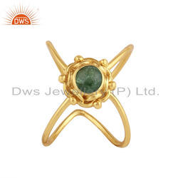 Green Tourmaline Gemstone Women's Gold Plated Silver Ring Jewelry