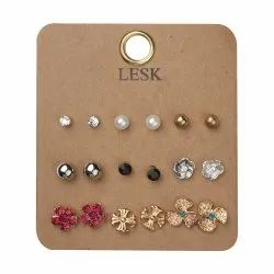 Artificial Golden Fashion Studs, Size: Small
