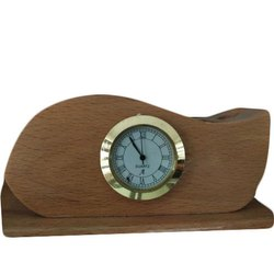 Wooden Table Clock, Packaging Type: Box, Shape: Round