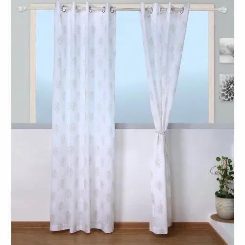 Eyelet White Designer Window Curtain