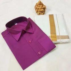 Cotton Collar Neck Men Dhoti Shirt Set