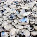 Natural Tourmalated Rainbow Moonstone Plain Cabochon