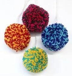 multi colour pom pom balls