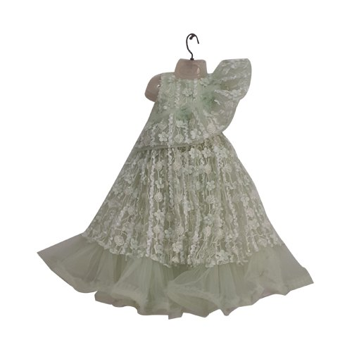 18fbeae634076 Green Important Glaze Material Embroidered Kids Gown, Age Group: 2-12 Yr