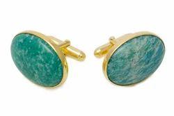 Natural Amazonite Semi Precious Gemstone Gold Plated Mens Cufflinks