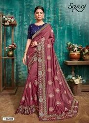 Stylish fancy Vichitra silk saree