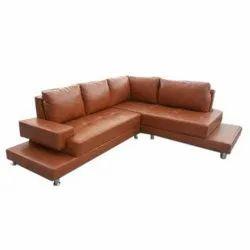 Plain Italian Leather L Shape Sofa