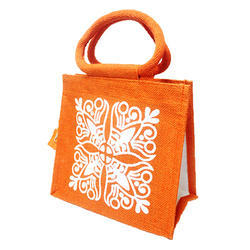 Orange Srishti Jute Lunch Bag