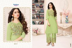 Aishani By Ambica Flex Table Printed Long Kurti With Pant Collection