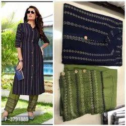 3/4th Sleeve Silk Ravishing Navy Blue Rayon 14 KG Foil Print Women Kurti Palazzo Set, Size-L