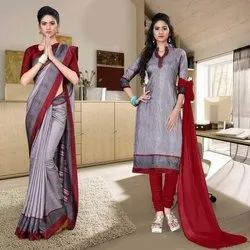 Formal Wear Border Uniform Saree And Suit, With blouse piece, 6.3 m