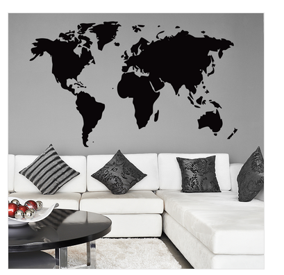 matte finish vinyl the world map wall sticker, rs 499 /piece | id