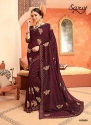 Maroon Color Designer Embroidery Saree