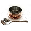 Copper SS Hammered Soup Bowl with Underliner