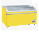 Yellow Curved Glass Freezer