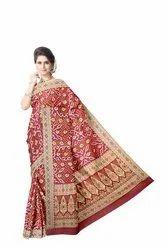 All Over Red Color Banarasi Georgette Saree