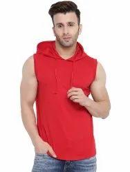 Red Solid Hooded Vest