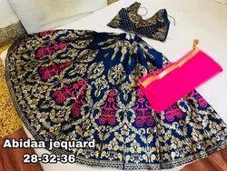 Jacquard Semi-Stitched Designer Wedding Lehenga Choli for Kids Wear, Size: Free