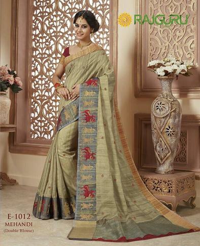e18f85b1b0a52f Cream Color Rajguru Raw Silk Saree