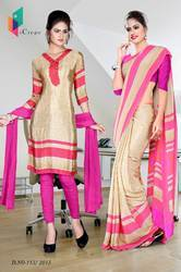 Golden and Pink Italian Crepe Uniform Saree Kurti Combo