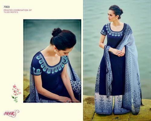 Navy Blue Color Pure Cotton Designer Salwar Suit